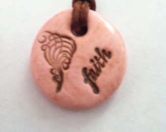 Polymer Clay Stamped Clay Pendant Faith