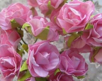Paper Flowers 20 Summer Millinery Roses In Medium Pink