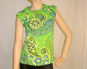 MARIANNE-  Green 60s Fitted Handmade Shirt Peter pan collar swirls