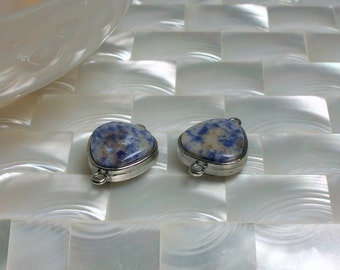 2pcs Sodalite Connector, Silver tone Connector, Gemstone Link, Gemstone Finding, Blue, White, Jewelry Supplies, Jewellery Supplies