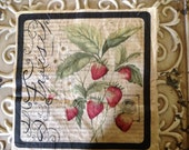 La Fraise French Script Motif Distressed - French Strawberries