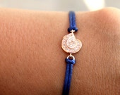 Friendship Bracelet Good Luck Lucky Rose Gold Seashell Charm with cz Navy Blue Satin Cord Macrame Knot