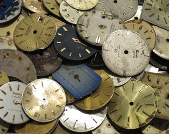 Steampunk 50 FACES Vintage Watch Dials Variety Distressed Time Pieces Old Parts