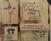 Set of 4 Religious Rubber Stamps, Cross, With God All Things Are Possible, Grace, Christ Who Strengthens Me, Easter, Christmas