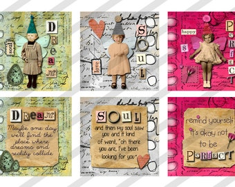Digital collage sheet  1.5 X 1.5  Slides  Inspiration Fairies  (Sheet no. FS213) Instant Download