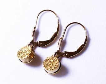 Gold Druzy Earrings French Clip Earrings Dainty Dangle Earrings Gold Druzy Jewelry Gold Drusy Jewelry Titanium Druzy Earrings