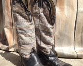 Vintage Hondo cowboy boots size 8 b. leather and fabric western