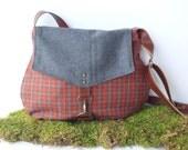satchel • wool plaid crossbody bag • autumn orange wool plaid - gray wool  • small messenger - cross body purse - fall winter bag
