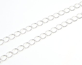 Silver Plated Extender Chain - Bright Silver Chain - Loose Chain for Necklaces or Bracelets with Soldered Links (FSCHS5)