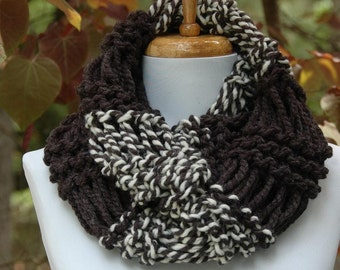 Charcoal Gray & Cream Knit Infinity Scarf, Chunky Scarf, Circle Scarf, Hand Knit Infinity Scarf, Women's Scarves, Winter Scarf, Wool Blend