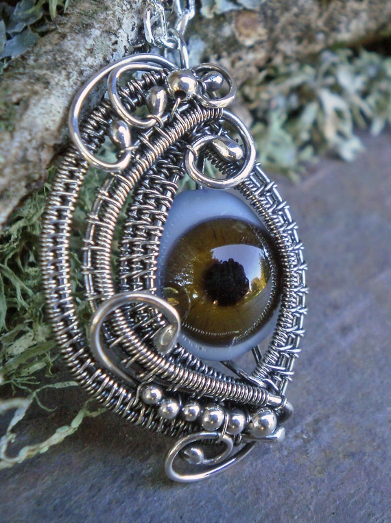 Gothic Steampunk Sterling Silver Eye Pendant