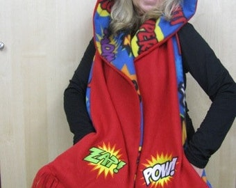 Comic Book Pow Zap Hooded Scarf with Pockets - Black and White
