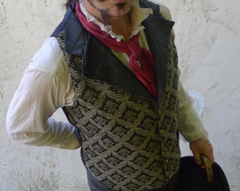 Black and Gold Tapestry Steampunk Victorian Lapeled Gentlemen's Vest