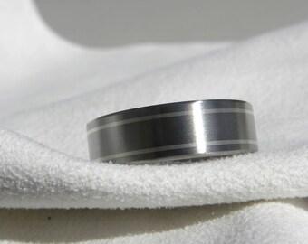 Wedding Ring or Titanium Band Silver Pinstripe Inlays