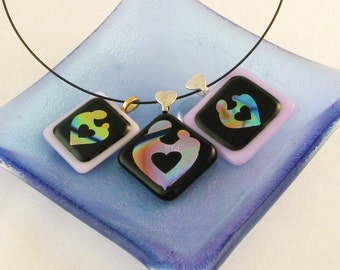 Mother & Child pendant - fused glass pendant - Dichroic glass necklace -ooak (3096, 3565-3591)