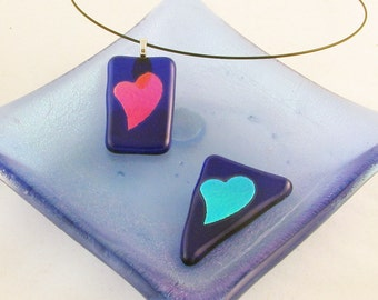Green or teal dichroic heart on ROYAL -  Dichroic fused glass jewelry - ooak pendant (2739)