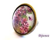 Flower ring - Spring Flowers ring - Adjustable flower ring - Red flower ring - Nature flower ring r760