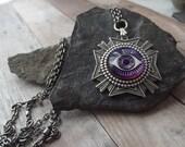 Silver Medallion Purple Eye Necklace