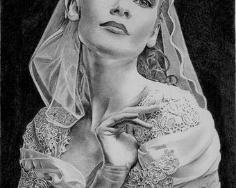 Lady in Lace Original Drawing