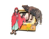 CIJ 20% off - Little Red Riding Hood Brooch, Big Bad Wolf Jewelry, Altered Art Jewelry, Mixed Media