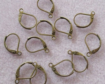 Antique Bronze Brass Lever Back Ear Wires 15mm Nickel Lead Free 723