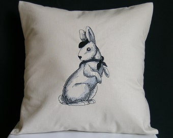 French Country Pillow, Shabby Chic Pillow, French Country Rabbit
