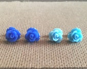 Cobal and Sky Blue Rose Cabochon Stud Duo