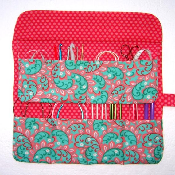 Circular Knitting Needle Holder Pattern : Circular Needle Knitting Case Peach Aqua Turquoise by ...