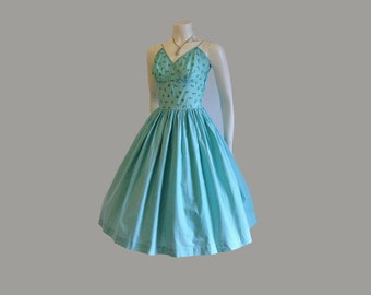 1950s dress /  Mixed Print Shelf Bust Vintage 50's Full Skirt Dress
