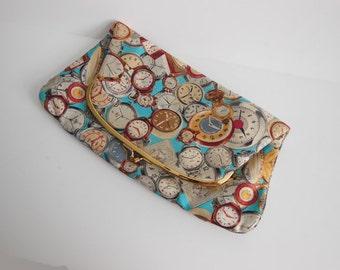 1960's Purse /  Watch It Vintage 60s Novelty Print Clutch Bag