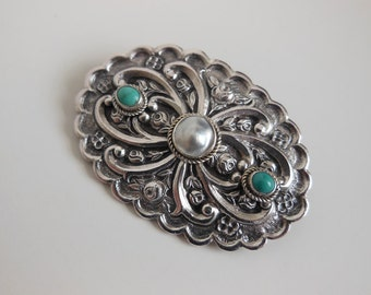 1900s brooch / Antique Victorian Sterling Turquoise Pin Brooch
