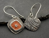 Reserved for Joanne NEW STYLE  Terra Terra - Silver and Terra Cotta Concrete Earrings