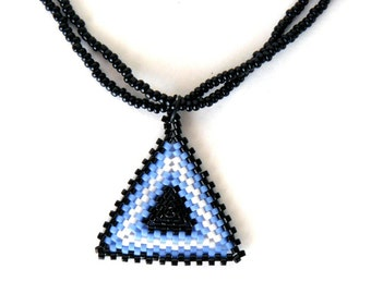 Blue and Black Triangle Pendant Beadwoven Triangle Necklace Light Blue Black and White Geometric Design Jewelry Beadwork Pendant