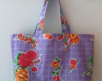 Beth's Big Lilac Vintage Rose Oilcloth Market Tote Bag