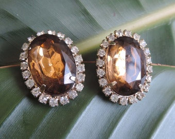 Vintage Lrg Faux Topaz Silica Rhinestones Clip Earrings