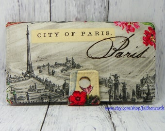 Handmade Long Wallet  BiFold Clutch - Vegan Wallet -  City of Paris
