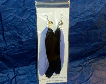 Black and Purple Feather Earrings 4""