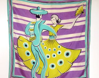 Vintage Silk Scarf - Spanish Dancers - Bright Yellow Aqua and Purple