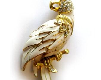 1960s Vintage Enamel Parrot Bird Pin with Rhinestones and Green Rhinestone Eye