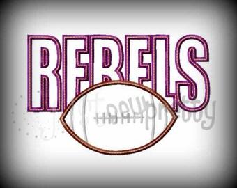Rebels Football Embroidery Applique Design