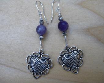 Amethyst Heart Earrings,  Romantic Earrings, February Birthstone, February Gift, Valentine Gift