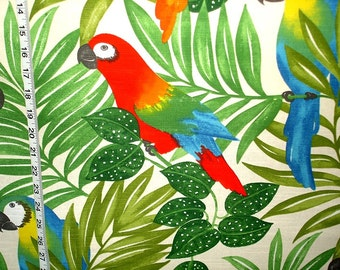 Parrot fabric tropical jungle rain forest interior home decorating material cotton 1 yard