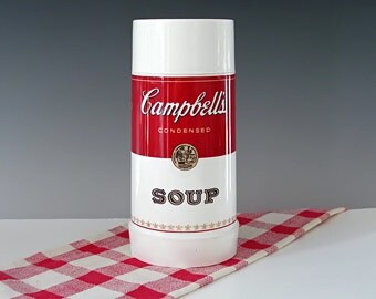 Campbells Soup Thermos . Advertising Thermos . Aladdin Plastic Thermos . Soup Container . Thermos Bottle . Mid-century . Vintage 1960s
