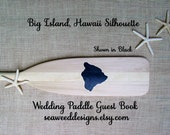 """58"""" Raw Personalized Paddle Big Island of Hawaii Wedding Guest Book with Bride and Groom Names and Wedding Date Painted Island Silhouette"""