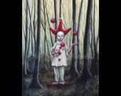 Red Cap, Art Print, Pierrot, Juggler in the Forest, Far Darrig, Irish Folk Lore, The Red Man, Nightmare, Fairy Tale, Macabre Art, Folk Tale