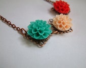 Mavie - Teal, peach and red dahlia and Copper Necklace with Swarovski accents