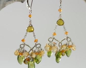 Intricately Wire Wrapped Chandelier Earrings, Peridot Earrings, Handmade