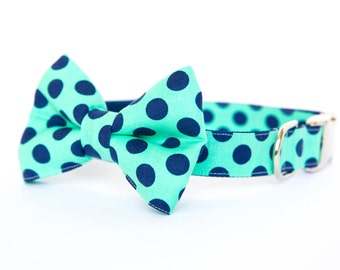 Dog Bowtie Collar - Mint and Navy Polka Dots