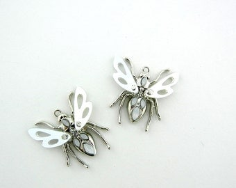 Pair of Bee Charms Silver-tone with Mirrored Lucite Wings