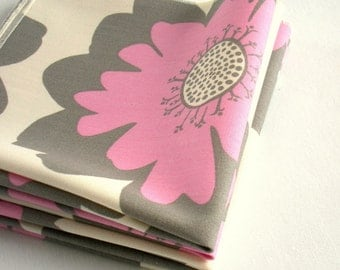 Organic Cotton Napkins - Everyday Napkins - Lightweight, Washable, Reusable - Set of Four - Pink & Gray Flowers
